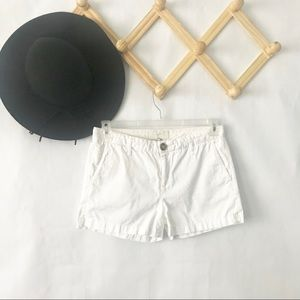 Joie | White Flat Front Cotton Shorts Size 26